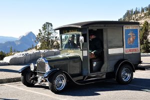 Remodeled Model A with Half Dome in background, Olmsted Point, Yosemite NP