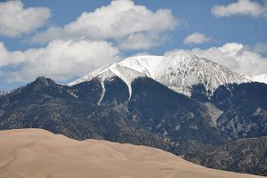 Sangre de Cristo Mountains behind the Dune Field, Great Sand Dunes National Park and Preserve