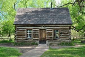 Theodore Roosevelt's preserved Maltese Cross cabin in the South Unit of Theodore Roosevelt National Park.