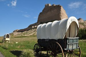 Pioneer wagons at Scotts Bluff National Monument.